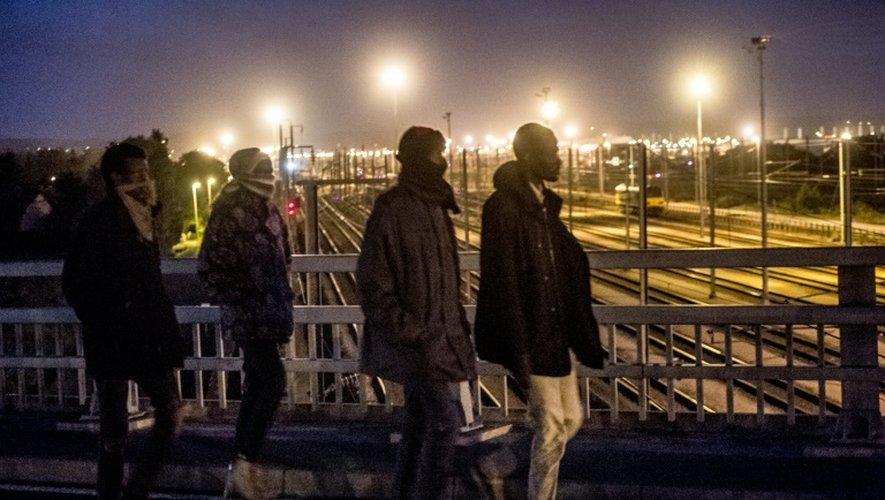 Des migrants traversent un pont au desssus des voies le 28 juillet 2015 au terminal d'Eurotunnel à Calais-Frethyn