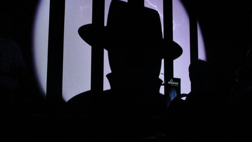 Le logo de Black Hat lors de la conférence Black Hat sur la sécurité le 5 août 2015 à Las Vegas