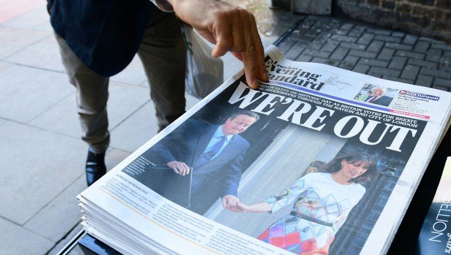 La Une du London Evening Standard au lendemain du référendum le 24 juin 2016 à Londres