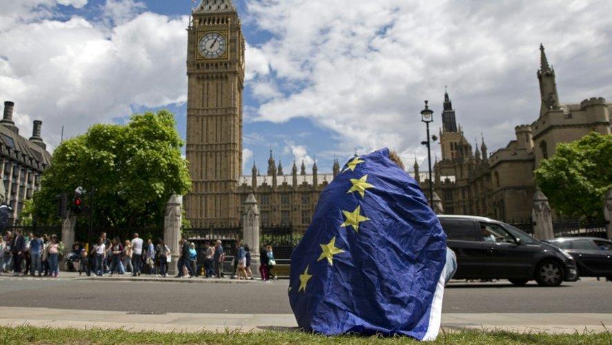 Un manifestant enveloppé dans un drapeau européen participe à un rassemblement contre la sortie de l'UE, à Londres le 23 juin 2016