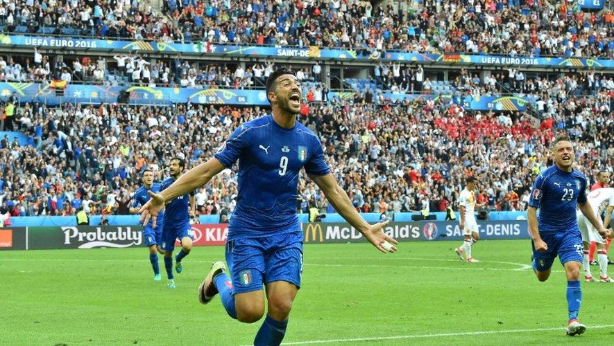 L'Italien Graziano Pellè, auteur du 2e but de son équipe face à l'Espagne en 8e de finale de l'Euro au Stade de France, le 27 juin 2016
