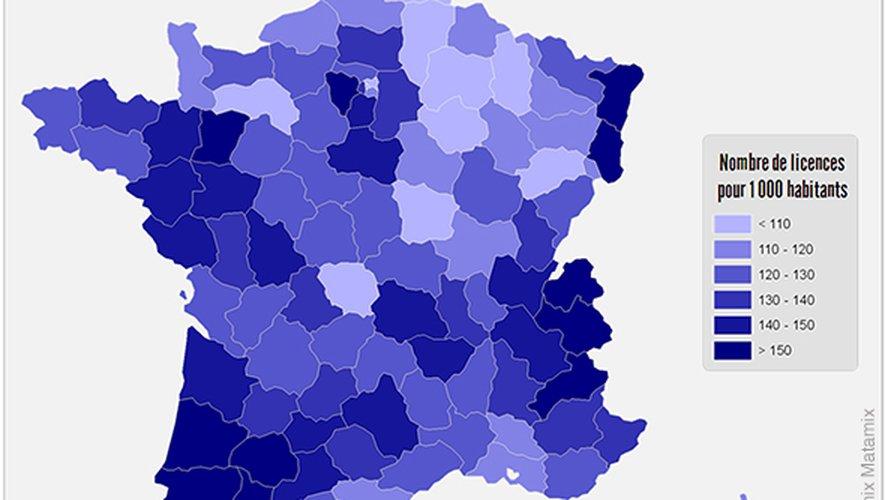 L'Aveyron est parmi les départements qui comptent le plus de licenciés pour 1000 habitants.