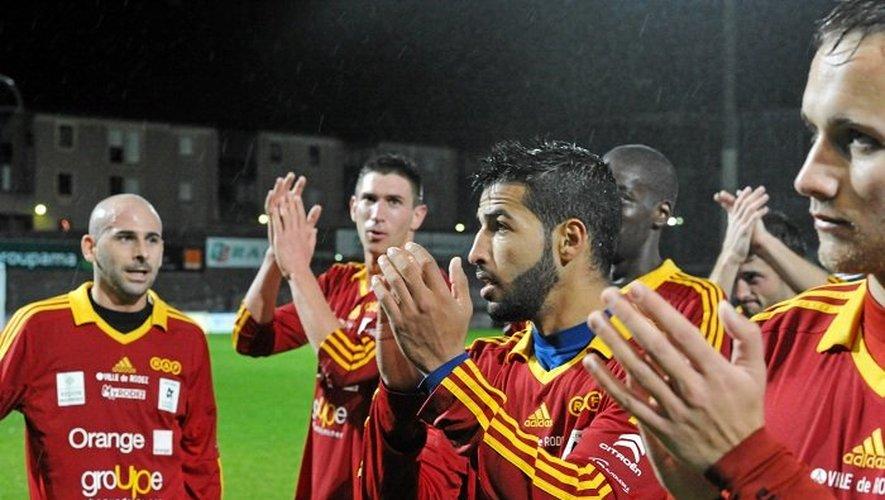 Les joueurs du Rodez Aveyron football, samedi dernier lors du succès contre Tarbes (1-0) à Paul-Lignon.