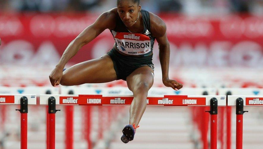L'Américaine Kendra Harrison lors du 100 m haies du meeting de Londres où il a battu le record du monde, le 22 juillet 2016