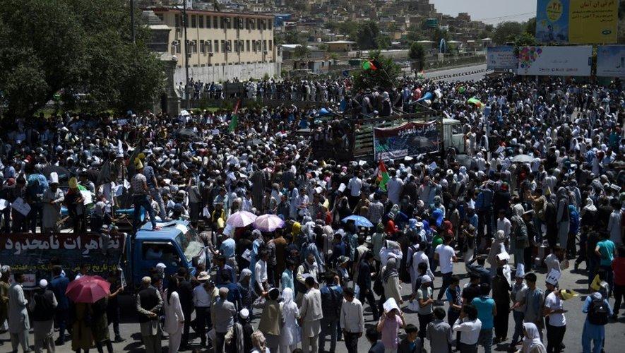 Manifestation pacifique à Kaboul de la minorité hazara, le 23 juillet 2016
