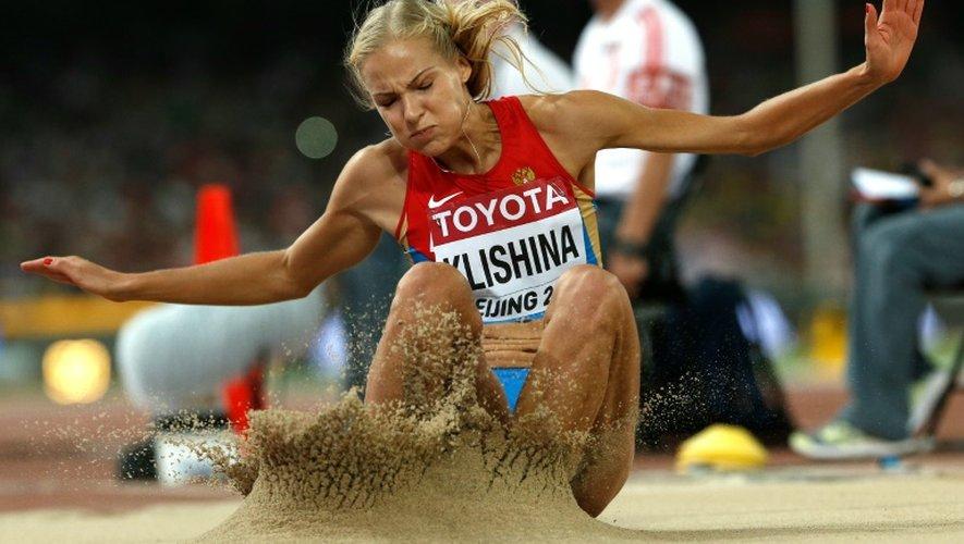 La Russe Darya Klishina lors du concours du saut en longueur au Mondiaux, le 28 août 2015 à Pékin