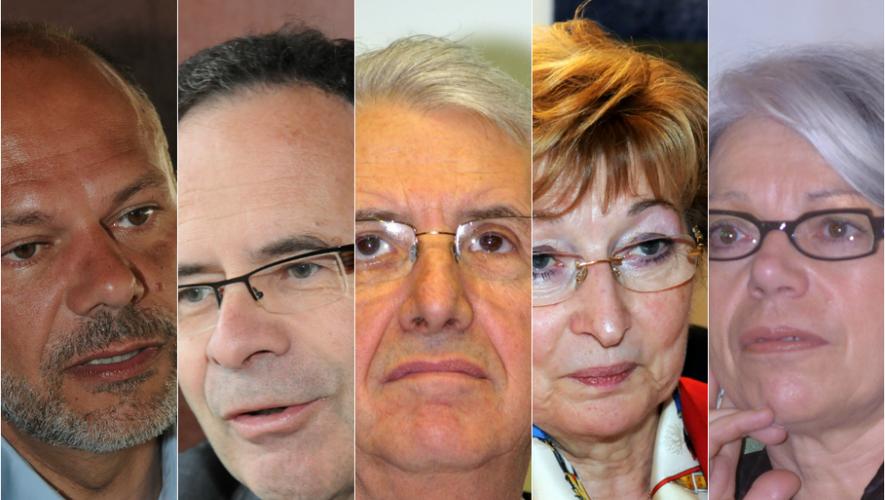 Les parlementaires aveyronnais. De gauche à droite : Yves Censi, Alain Marc, Alain Fauconnier, Anne-Marie Escoffier, Marie-Lou Marcel.