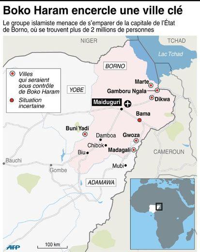 Carte du Nigeria localisant la progression des militants islamistes de Boko Haram dans le nord-est du pays
