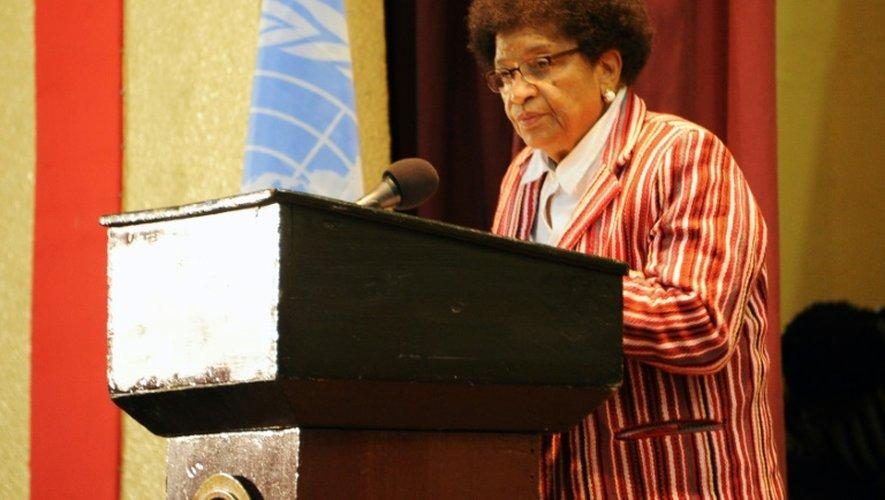 La présidente du Liberia Ellen Johnson Sirleaf s'adresse à l'assistance lors d'une cérémonie,  le 1er juillet 2016 à Monrovia