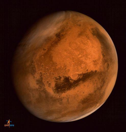 Image de la planète Mars fournie par l'organisation indienne pour la recherche spatiale (ISRO), le 30 septembre 2014