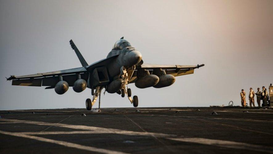 Cette photo diffusée par l'US Navy le 31 juillet 2016 montre un F/A-18F Super Hornet se préparant à décoller d'un porte-avions dans le Golfe arabique