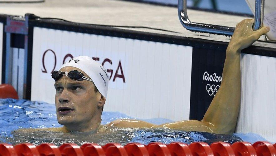 Yannick Agnel à l'issue du 200 m nage libre des Jeux de Rio, le 7 août 2016 au Centre aquatique olympique