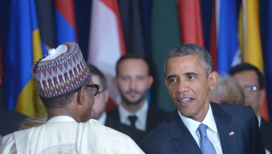 Le président Barack Obama et le président nigérian Muhammadu Buhari le 28 septembre 2015 à l'Onu à New York