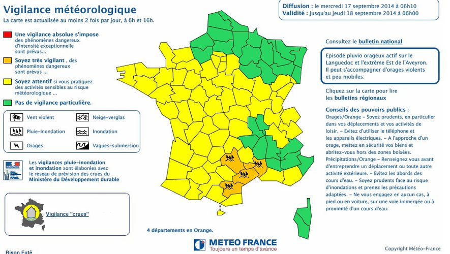 Orages : alerte orange en Aveyron