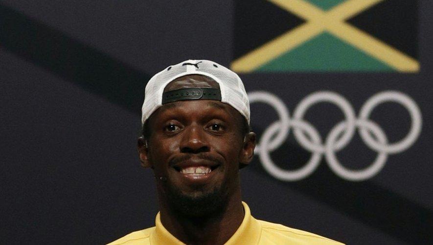 La star jamaïcaine du sprint Usain Bolt en conférence de presse aux JO de Rio, le 8 août 2016