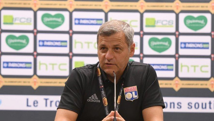 Bruno Genesio, entraîneur de Lyon, en conférence de presse lors du Trophée des Champions à Klagenfurt (Autriche), le 5 août 2016