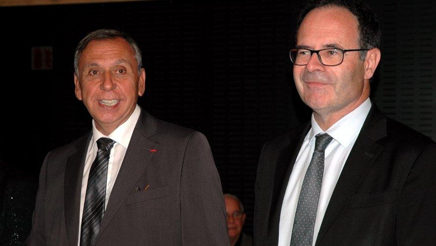 Alain Marc et Jean-Claude Luche, ce soir à la proclamation des résultats. Ils reprennent à droite les deux fauteuils que Jean Puech et Bernard Seillier avaient laissé à la gauche en 2008.