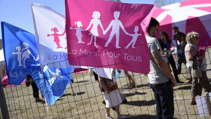 """Des participants au rassemblement de """"La Manif pour tous"""" opposés au mariage homosexuel, le 14 septembre 2014 à Palavas-les-Flots"""