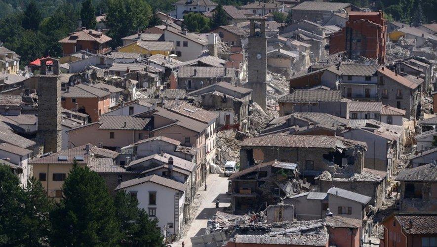 Vue du village d'Amatrice, dans le centre de l'Italie, le 25 août 2016