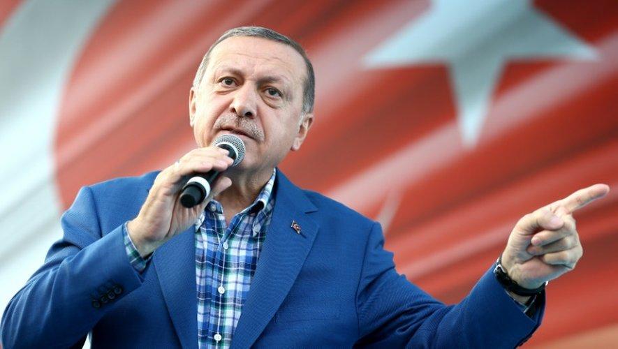 Photo prise et fournie le 28 août 2016 par le service de presse de la présidence turque montrant le président Recep Tayyip Erdogan lors d'un meeting à Gaziantep
