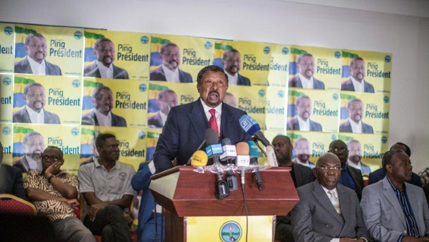 L'opposant gabonais Jean Ping face à la presse le 29 août 2016 à Libreville