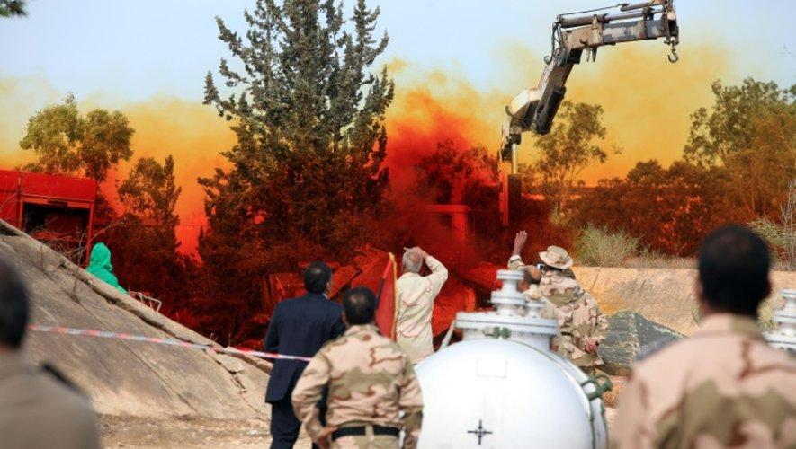 Des armes chimiques détruites le 11 novembre 2012 à Tripoli sous la surveillance d'experts de l'Onu
