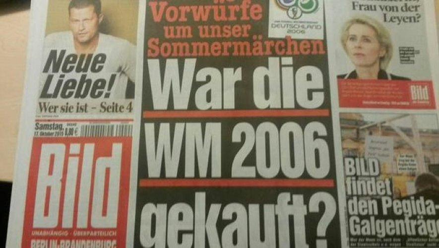 Une de Bild du 17 octobre 2015 sur la corruption présumée dans l'obtention du Mondial-2006 par l'Allemagne