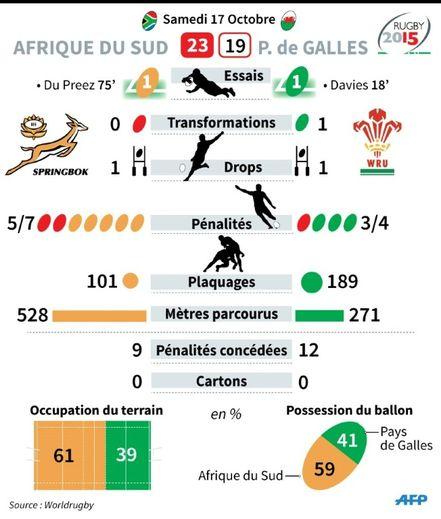 Statistiques du quart de finale de la coupe du monde de rugby Afrique du Sud- Pays de Galles