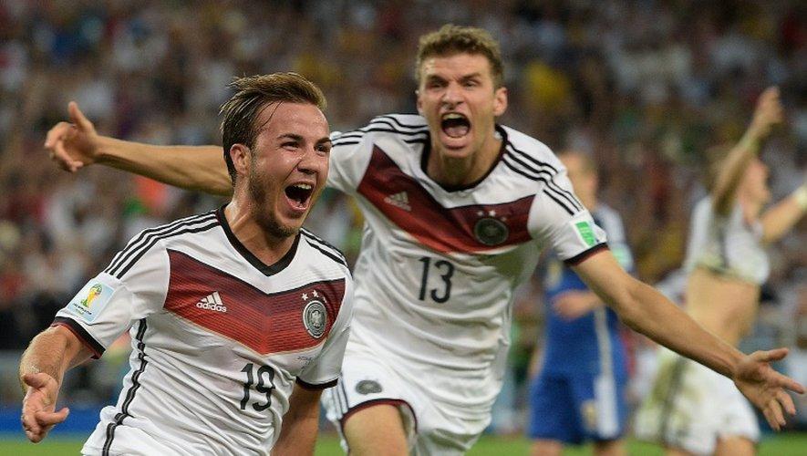 Mario Götze célèbre le but allemand de la victoire lors de la finale du Mondial-2014 face à l'Argentine, le 13 juillet 2014 à Rio de Janeiro