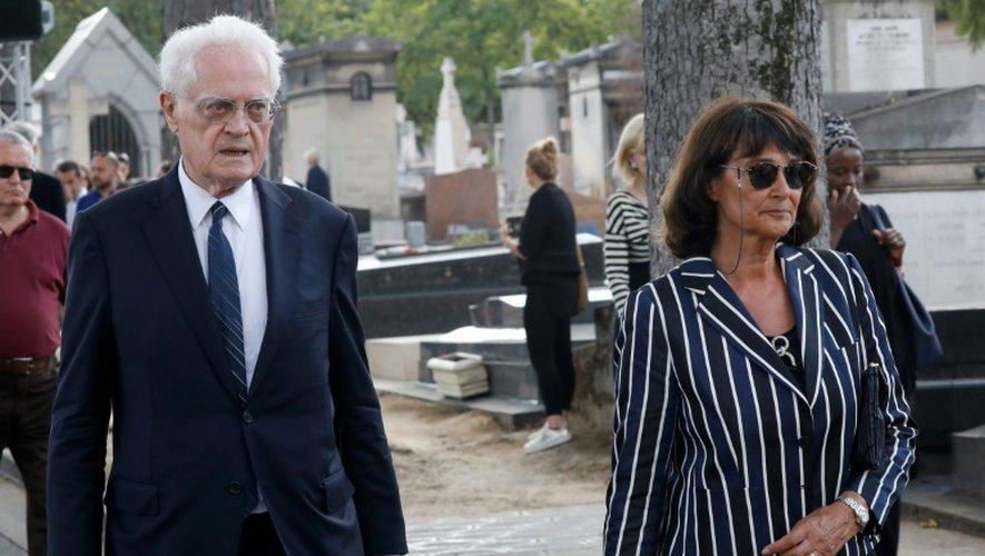 L'ex-Premier ministre Lionel Jospin (g) et son épouse Sylviane Agacinski aux obsèques de Sonia Rykiel, le 1er septembre 2016 à Paris
