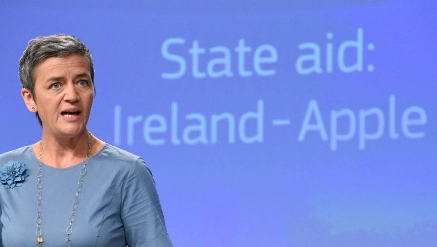 La Commissaire européenne de la Concurrence,  Margrethe Vestager, lors d'une conférence de presse demandant à Apple de payer une amende de 13 milliards d'euros, à Bruxelles, le 30 août 2016