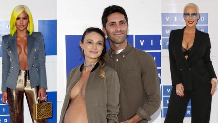 Cassie, Laura Perlongo enceinte avec son fiancée Nev Schulman et Amber Rose aux MTV VMA 2016