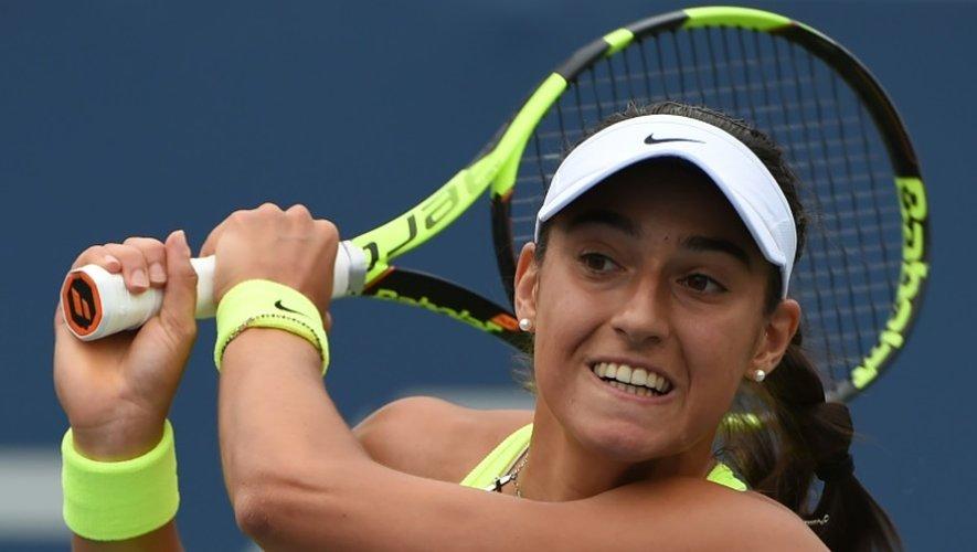 La Française Caroline Garcia face à la Polonaise Agnieszka Radwanska au 3e tour de l'US Open, le 3 septembre 2016 à New York