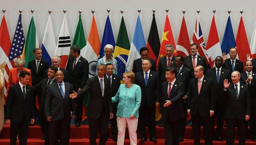 Photo de famille des dirigeants participant au G20, le 4 septembre 2016 à Hangzhou, en Chine