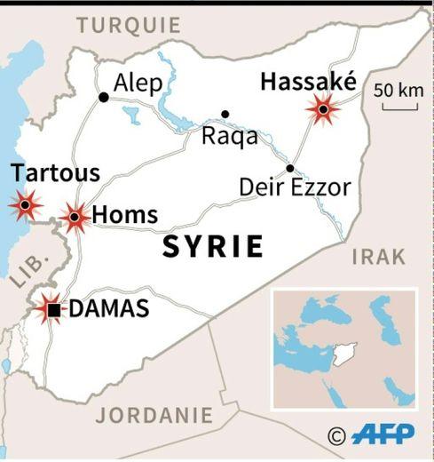 Carte de localisation d'une série d'attaques à la bombe dans plusieurs villes de Syrie, essentiellement contrôlées par le régime