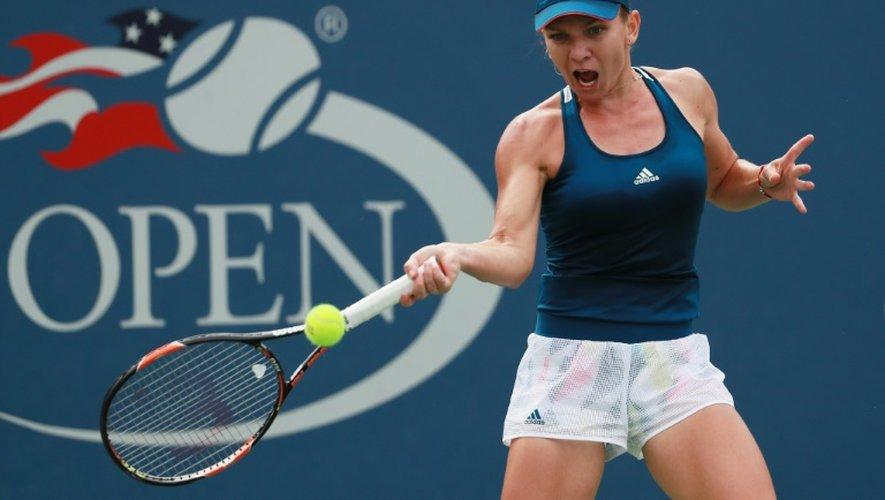 La Roumaine Simona Halep face à l'Espagnole  Carla Suarez en 8e de finale de l'US Open, le 5 septembre 2016 à New YorK