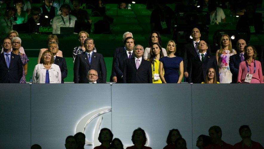 Michel Temer (C) de la cérémonie d'ouverture des jeux paralympiques le 7 septembre 2016 à Rio