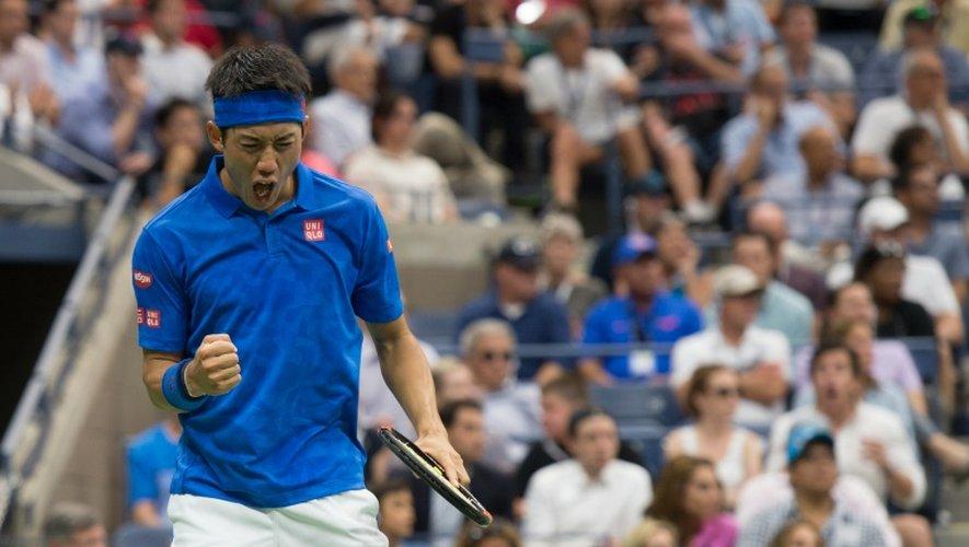 Le Japonais Kei Nishikori face à l'Ecossais Andy Murray en quarts de finale de l'US Open, le 7 septembre 2016 à New York