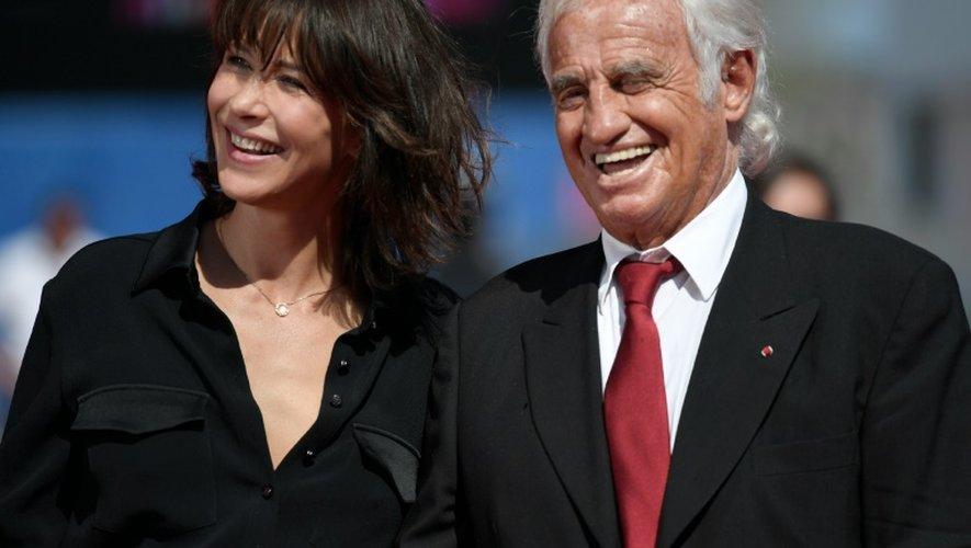 L'actrice Sophie marceau et l'acteur Jean-Paul Belmondo lors de la Mostra de Venise en Italie, le 8 septembre 2016