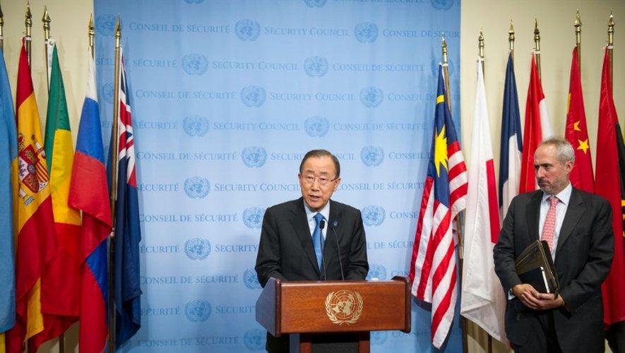 Le secrétaire général de l'ONU, Ban Ki-moon fait une déclaration au siège de l'organisation, le 9 septembre 2016 à New York