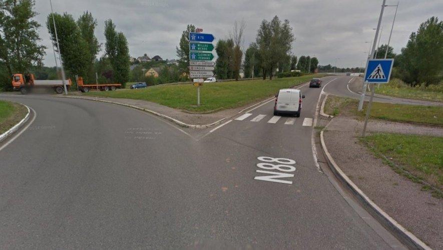L'accident s'est produit sur la RN88 au niveai du giratoire Saint-Félix.