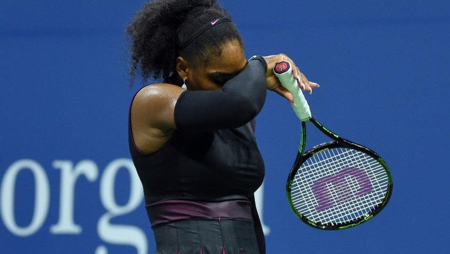 L'Américaine Serena Williams face à la Tchèque Karolina Pliskova en demi-finales de l'US Open, le 8 septembre 2016 à New York