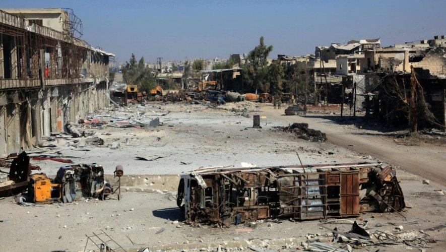 Scènes de destruction à Alep, en Syrie, le 9 septembre 2016
