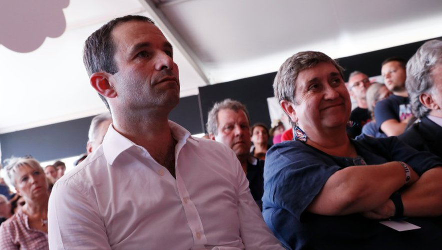Benoît Hamon, candidat à la primaire initiée par le PS, à la Fête de l'Humanité, le 10 septembre 2016