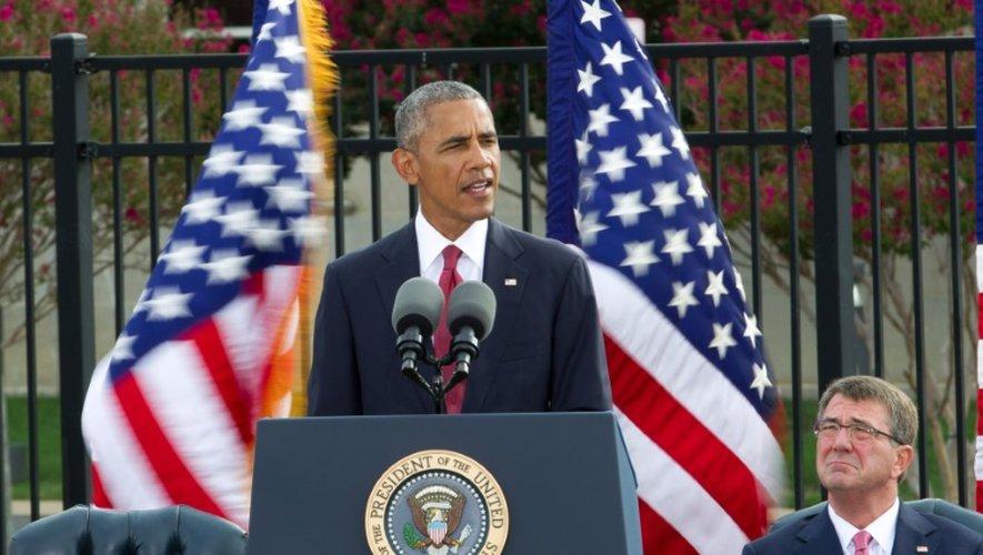 Le président américain Barack Obama lors d'une cérémonie de commémoration des attentats du 11 septembre 2001, au Pentagone