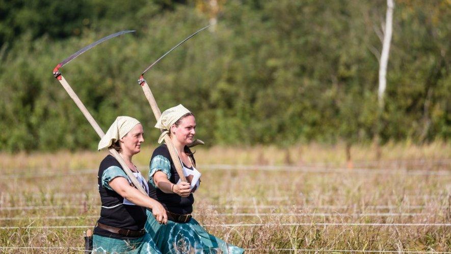 Des participantes hongroises au championnat du monde de fauchage à Trzcianna, dans le nord-est de la Pologne, le 10 septembre 2016