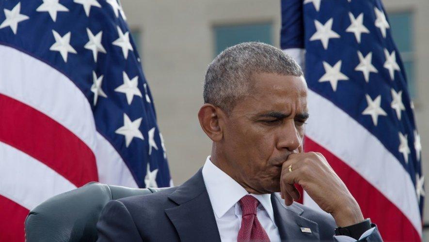 Le président américain Barack Obama lors d'une cérémonie de commémoration du quinzième anniversaire des attentats du 11 septembre 2001, au Pentagone