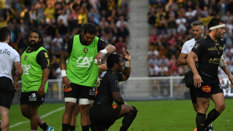 L'arrière fidjien de La Rochelle Kini Murimurivalu après un essai contre le Lyon OU, au stade Marcel-Deflandre, le 10 septembre 2016