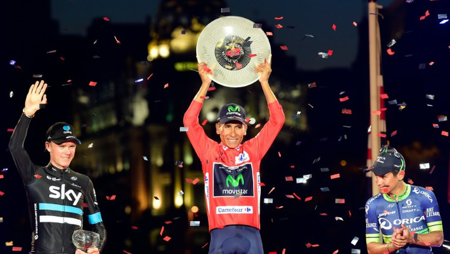 "Le coureur de la Movistar Nairo Quintana, vainqueur de ""La Vuelta"" 2016, le 11 septembre à Madrid"