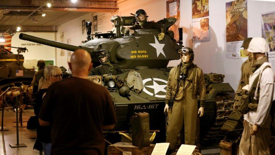 """Un char WWII Cadillac M24 """"Chaffee"""" exposé le 12 septembre 2016 au Normandy Tank Museum à Catz près de Caen"""